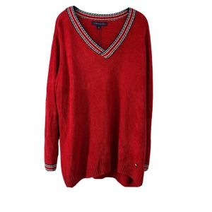 Tommy Hilfiger Chenille VNeck Sweater 2X Red New